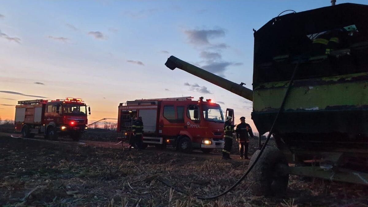 O combina agricola a luat foc